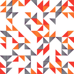 Seamless trendy memphis triangle colorful pattern background.