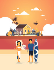 surfer couple summer vacation man woman surf board on sunset beach villa house tropical island vertical flat vector illustration