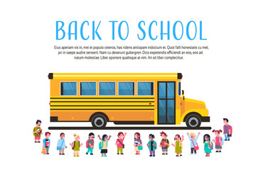 Group pupils children over yellow school bus transport concept on white background flat copy space horizontal vector illustration