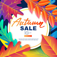 Autumn sale vector banners. Color gradients leaves fall illustration. Layout for poster, discount labels, flyers