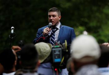 White nationalist leader Jason Kessler speaks during a rally in Washington