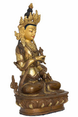 The statuette of Vajrasattva half-turned right side isolated on the white background; Buddha sits in the lotus position