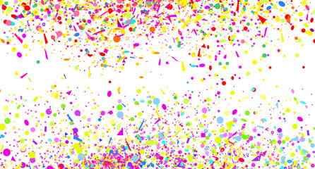 Confetti. Explosion. Texture with random geometric elements on white. Geometric background. Pattern for design. Print for polygraphy, posters, t-shirts and textiles. Greeting cards