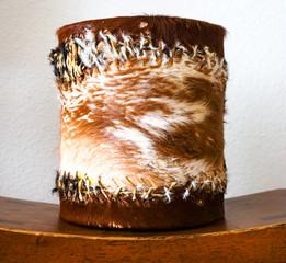 a Drum instrument made of an animals fur