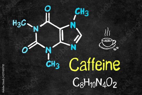 Handwritten Chalk Chemical Formula Of Caffeine On School Blackboard