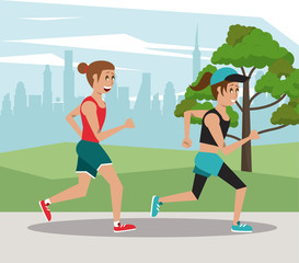 Fitness people marathon at city park cartoons vector illustration graphic design