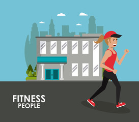 Fitness woman running at city cartoons vector illustration graphic design