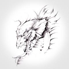 Fototapete - dragon, head of dragon tattoo hand drawn
