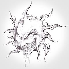 Wall Mural - sun monster, handmade tattoo drawing
