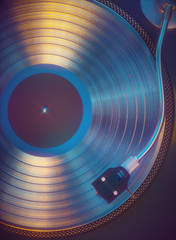 Colorful vinyl retro music. 3D illustration of colorful vinyl record from above. Retro music concept analog sound.