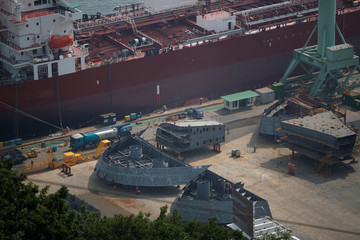 Parts of the structure of a ship are seen at Hyundai Heavy Industries' Shipyar in Ulsan