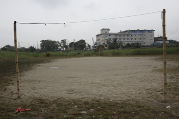The sandy field where Riazul Islam, an alleged drug dealer, was killed by police, is pictuired in Tongi, Gazipur