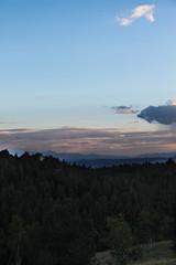 Sunset mountains along the horizon