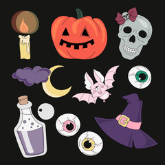 Halloween Vector Illustration Set ACCESSORIES for Digital Print, Holidays, Wall Art, Scrapbooking, Photo Album Design and Digital Paper