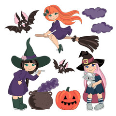 Halloween Vector Illustration Set COSTUMES for Digital Print, Holidays, Wall Art, Scrapbooking, Photo Album Design and Digital Paper