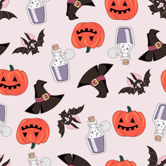 Halloween Seamless Pattern PUMPKIN AND BAT Color Vector Illustration Set for Digital Print, Holidays, Wall Decorations, Scrapbooking, Photo Album Design and Digital Paper