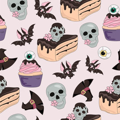 Halloween Seamless Pattern SKULL SWEETS Color Vector Illustration Set for Digital Print, Holidays, Wall Decorations, Scrapbooking, Photo Album Design and Digital Paper