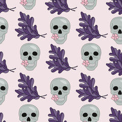 Halloween Seamless Pattern SKULL AND LEAVES Color Vector Illustration Set for Digital Print, Holidays, Wall Decorations, Scrapbooking, Photo Album Design and Digital Paper