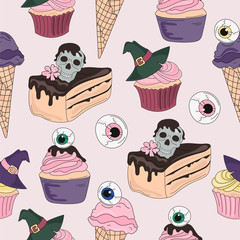 Halloween Seamless Pattern DEATH SWEETS Color Vector Illustration Set for Digital Print, Holidays, Wall Decorations, Scrapbooking, Photo Album Design and Digital Paper
