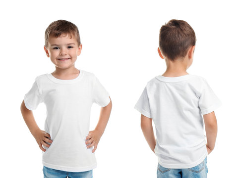 Front and back views of little boy in blank t-shirt on white background. Mockup for design