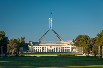 Early morning at the Australian Capital Parliament Building, Canberra Australia