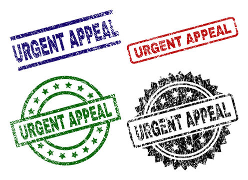 URGENT APPEAL seal prints with corroded style. Black, green,red,blue vector rubber prints of URGENT APPEAL title with retro surface. Rubber seals with circle, rectangle, rosette shapes.