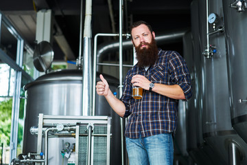 brewer giving thumbs up with craft beer made in brewery