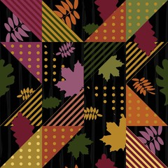 Trendy hipster autumn leaves pattern
