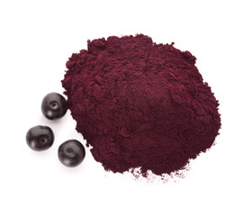 Acai powder and berries on white background, top view