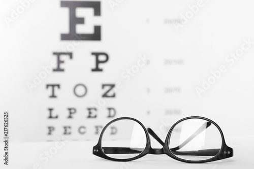 8cc32c06da5c Glasses with corrective lenses on table against eye chart
