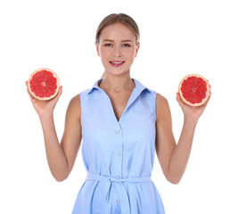 Slim woman with grapefruit on white background. Healthy diet