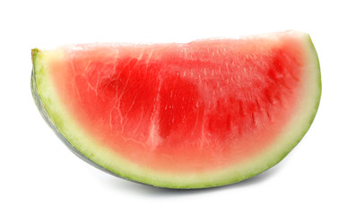 Slice of ripe watermelon on white background