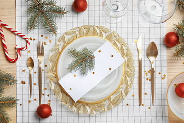 Elegant table setting on cloth, top view. Christmas celebration
