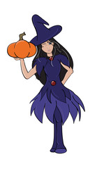 Winking Witch Holding a Pumpkin
