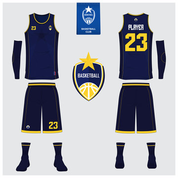 Basketball jersey or sport uniform, shorts, socks template for basketball club. Front and back view sport t-shirt design. Tank top t-shirt mock up with basketball flat logo design. Vector