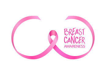 Pink ribbon curve in breast shape. Breast Cancer Awareness Month Campaign. Icon design. Vector illustration isolated on white background.