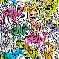 Tiger with colorful silhouette wildlife animals, seamless pattern. Wild animal design trendy fabric texture, illustration.