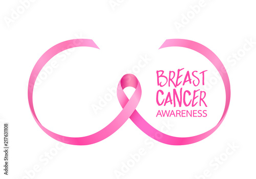 1ec7ccb7263 Pink ribbon curve in breast shape. Breast Cancer Awareness Month Campaign. Icon  design. Vector illustration isolated on white background.