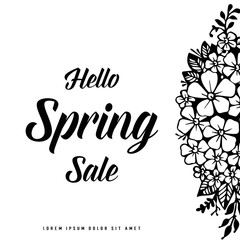 Hello spring sale floral hand draw vector illustration