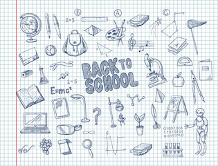 Big set of school supplies, such as a backpack, book, laptop, globe and others, drawn pen on a notebook. Vector