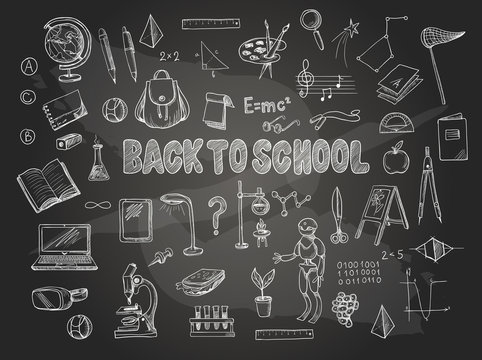 Big set of school items, such as a backpack, book, laptop, globe etc, chalked  on a blackboard. Vector.