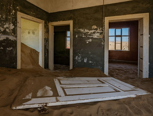 Sand has invaded and taken over these rooms in Kolmanskoppe