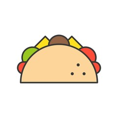 taco, Mexican food, food and gastronomy set, filled outline icon