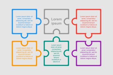 Colorful Puzzle Six Pieces Infographic. Six Steps.