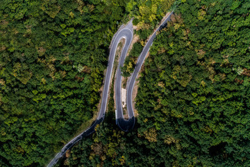 Winding road serpentine from a high mountain pass in the mosel village Brodenbach Germany Aerial view