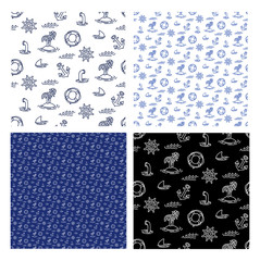 Seamless marine pattern with anchor, shark fin, steering, island, boat. Set of Ornament blue, black for design fabric, clothes, textile, wrapping paper. Vector illustration isolated white background