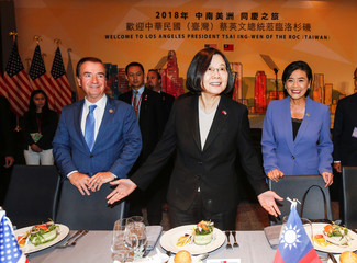Taiwanese President Tsai Ing-wen, U.S. Representative Ed Royce, and U.S. Congresswoman Judy Chu attend the Los Angeles Overseas Chinese Banquet in Los Angeles