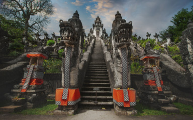 Dragon statue on the entrance way inside of Pura Lempuyang temple near Agung volcano,Bali, Indonesia