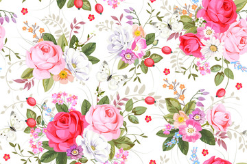 Seamless pattern with country roses