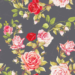 Seamless floral pattern with of red roses